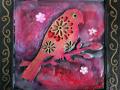 Encaustic Red Bird #1