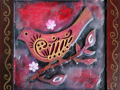 Encaustic Red Bird #2