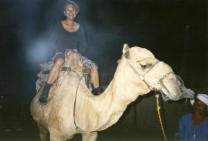 Ann-Marie Cheung riding a camel, Luxor, Egypt