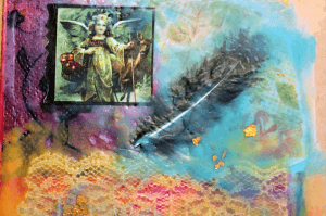 Encaustic Mixed Media Angel Collage