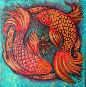 """Two Fish, 2014 12"""" x 12"""" acrylic on canvas"""