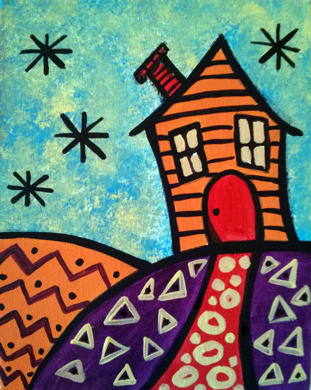 Happy House Doodle Painting