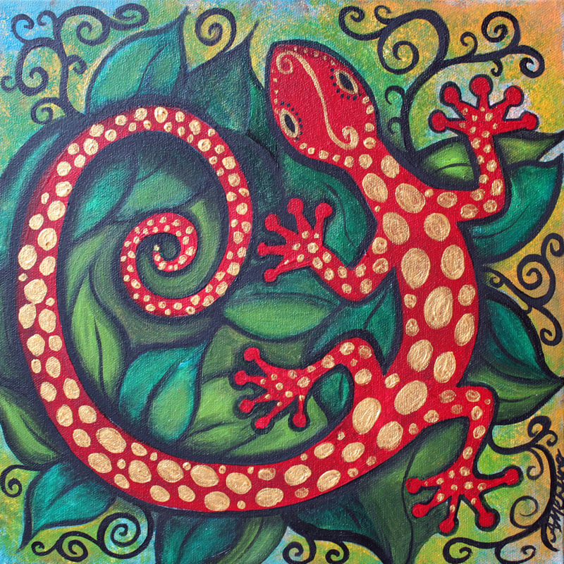 Red Gecko 12x12 acrylic by Ann-Marie Cheung